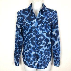 Calvin Klein Button-Up Shirt Blue Tie Die